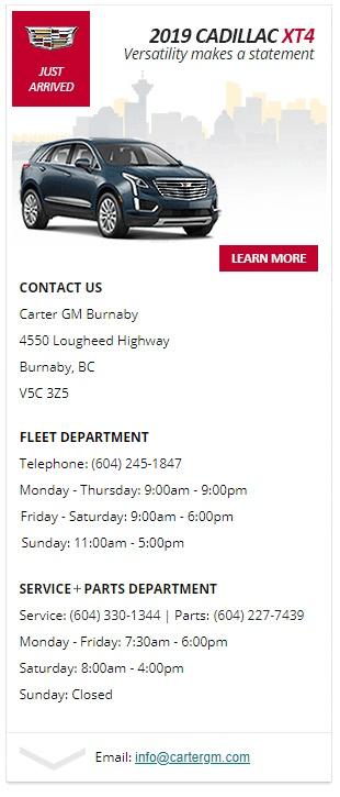 2019 Cadillac XT4 in Burnaby, BC