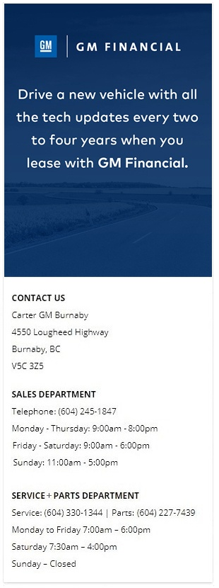 great finance and lease offers at carter gm burnaby bc
