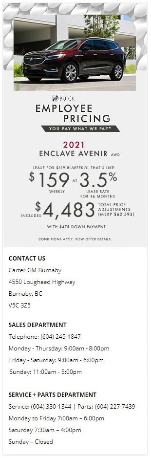 2021 Buick Enclave Avenir Carter GM Burnaby BC