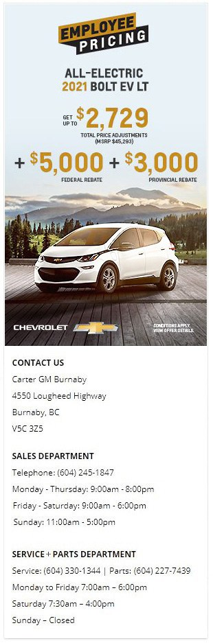 2021 Bolt EV at Carter GM Burnaby and Carter GM Northshore - Electric Vehicle