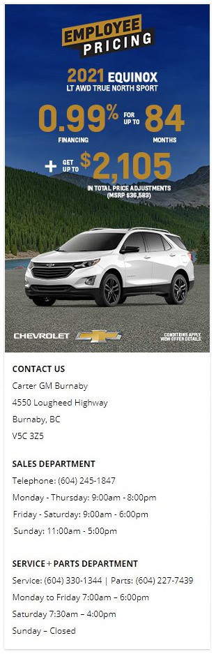 2021 Chevrolet Equinox LT AWD True North Sport SUV at Carter GM Burnaby and Carter GM Northshore BC Canada