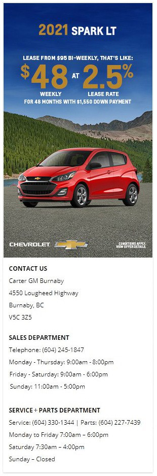 2021 Chevrolet Spark LT at Carter GM Burnaby and Carter GM Northshore BC