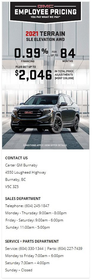 2021 GMC Acadia Terrain SLE Elevation AWD SUV at Carter GM Burnaby and Carter GM Northshore BC Canada