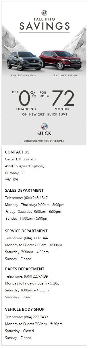 2021 Buick Envision Enclave Best Prices in Burnaby and North Vancouver BC